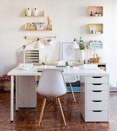 White home office with two sided white office desk and white office chairs. - White home office with two sided white office desk and white office chairs. White Desk Office, White Desks, Small Office Desk, Kids Office, White Desk Decor, Shared Office, Office Nook, White Desk Table, Office With 2 Desks