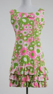 1960s Psychadelic Flower Pattern Mod Madmen Summer Dress