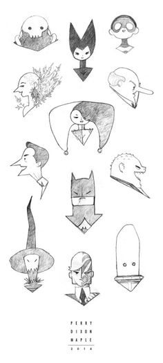 Batman Simple Sketches - Perry Dixon Maple My very first - very messy - sketches for the Simple Batman redesigns. Drew these in the car over the holidays.