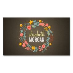 Yoga Teacher - Burlap Floral Wreath Business Cards. This great business card design is available for customization. All text style, colors, sizes can be modified to fit your needs. Just click the image to learn more!