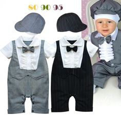 Free Shipping 3sets/lot Infant Toddler Baby Boy's Formal Wear Tuxedo Rompers and Caps Set