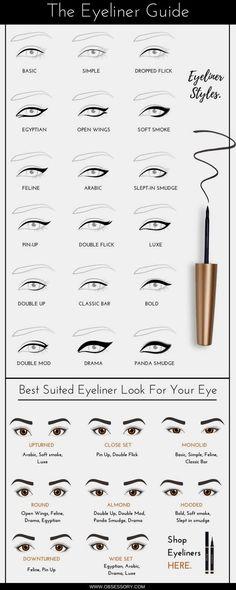 The Infographic Guide For Eyeliner On Fleek, Always! – Catherine Febo The Infographic Guide For Eyeliner On Fleek, Always! eye makeup eyeliner styles and shapes guide infographic Makeup Guide, Eye Makeup Tips, Makeup Inspo, Makeup Inspiration, Beauty Makeup, Makeup Tips And Tricks, Beauty Tips, Eye Makeup Tutorials, Day Eye Makeup