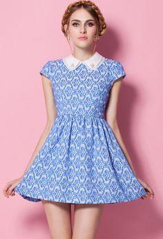 Blue Lapel Short Sleeve Floral Pleated Dress US$30.00