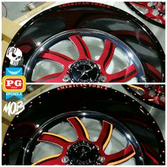 """More lips then Kylie Jenner 22""""x12"""" @americanforcewheels Nightmare FP8 wheels w/ one piece SEAMLESS barrel wrap in gloss black & each of the 3 separate faceplate wrapped too! Satin red chrome, gloss black chrome & red reflective. These things are FaF!!! #pgnola, #paintisdead, #layednotsprayed, #killingitdaily, #freshgraphicsdaily, #knifelesstape, #croftgate, #excelblades, #mastersofbranding, #oneofakind, #americanforce, #billets,"""