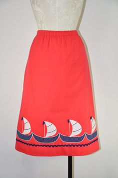 80s red A line skirt / red nautical skirt / by QuietUnrest on Etsy