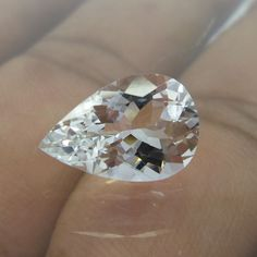 3.3 Cts 13.5x9 mm Excellent Cut Pear Shape White Beryl Goshenite Faceted Stone #Unbranded