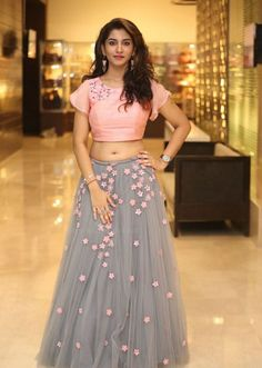 Telugu Television Actress Vishnu Priya Navel Hip Stills In Pink Lehenga Choli - Tollywood Stars Indian Fashion Dresses, Indian Gowns Dresses, Dress Indian Style, Indian Designer Outfits, Designer Dresses, Indian Fashion Trends, Half Saree Designs, Lehenga Designs, Salwar Designs