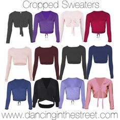 Cropped Sweaters. Online retailer for fashion and dance clothes, dance shoes and accessories suitable for all types of dance including Jazz, Contemporary, Hip Hop, Street, Ballet, Tap as well as Fitness, Gym & Zumba