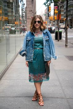 {The Vintage Floral Dress | Simply Audree Kate} Summer outfit with a bright floral dress, lace up heels, and a denim jacket