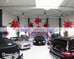 Queen's diamond jubilee balloon decorations in a Car Show Room showroom balloon decor Balloon Display, Balloon Decorations, Balloon Ideas, Balloon Ceiling, Balloon Cars, Mylar Balloons, Creative Advertising, Car Show, Car Dealerships