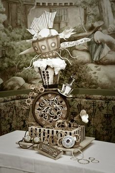quite the steampunk cake! Crazy Cakes, Fancy Cakes, Cute Cakes, Pink Cakes, Unique Cakes, Creative Cakes, Beautiful Cakes, Amazing Cakes, Steampunk Wedding Cake