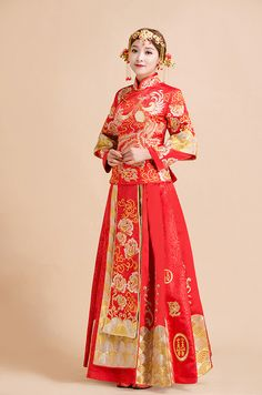 Dragon and phoenix gown  red