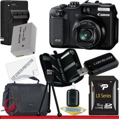Canon PowerShot G12 Digital Camera 16GB Package 2 by Canon. $499.99. Package Contents:  1- Canon G12 10 MP Digital Camera USA w/ All Supplied Accessories 1- 16GB SDHC Class 10 Memory Card 1- Rapid External Ac/Dc Charger Kit   1- USB Memory Card Reader  1- Rechargeable Lithium Ion Replacement Battery  1- Weather Resistant Carrying Case w/Strap  1- Pack of LCD Screen Protectors  1- Camera & Lens Cleaning Kit System  1- Mini Flexible Table Top Tripod 1- Memory Card Wallet
