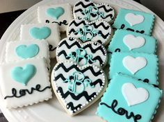 Custom Chevron Monogrammed Hearts and Love Heart Square, Engagement and Wedding Decorated Cookies Set. $42.00, via Etsy.