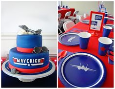 "When you name your son Maverick, you need to throw him a ""Top Gun"" party. So we did just that and had a ""Top Gun"" birthday party. Planes Party, Airplane Party, Airplane Nursery, Boy Birthday Parties, 2nd Birthday, Birthday Ideas, Top Gun Party, Air Force Birthday, Gun Cakes"