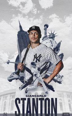 Yankees Fan, New York Yankees, Giancarlo Stanton, Sports Graphic Design, Soccer, Softball, Sports Posters, Actors, Baseball