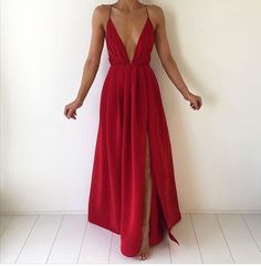 simple red chiffon long prom dress for teens, evening dress, red backless long formal dress 2017