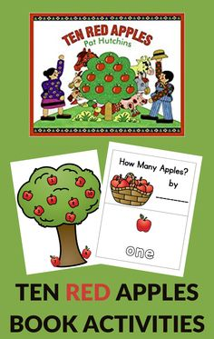 Use these Ten Red Apples activities to build number word recognition with preschoolers. Free printable activities are included. #tenredapples #bookactivities