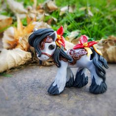 Christmas Holiday Poinsettia Gypsy Vanner Filly By Whisper Fillies Whisperfillies.etsy.com Unique handmade polymer clay horse, pony, unicorn and fantasy creatures  Find me on Instagram and Facebook too!