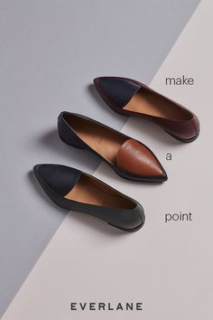 Make your point. Smooth Italian leather, a slim tapered toe, and just a touch of texture make this one of the most elegant flats in your weekly rotation. This is what feminine and functional looks like.