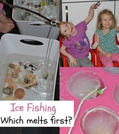 Fun ice investigation for kids. Freeze fish into ice cubes with a piece of string, attach a stick and go ice fishing! Fun ice experiment for kids. Science Activities For Kids, Science Fair Projects, Preschool Science, Science Experiments Kids, Winter Activities, Kid Science, Science Week, Nursery Activities, Science Ideas