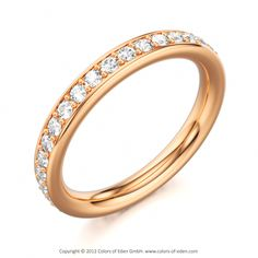 Wedding Band in 18k Rose Gold with Round Diamonds - Starlight Ring