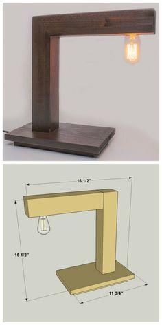35 super ideas for diy desk lamp wood light fixtures Wood Desk Lamp, Wooden Lamp, Cool Lamps, Unique Lamps, Diy Luminaire, Diy Holz, Desk Light, Modern Desk, Diy Desk