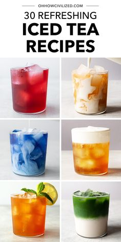 30 Refreshing Iced Tea Recipes Refreshing Drinks, Yummy Drinks, Healthy Drinks, Coffee Drink Recipes, Iced Tea Recipes, Best Iced Tea Recipe, Bubble Tea, Low Calorie Drinks, Smoothie Drinks