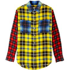 Equipment Signature Checked Shirt ($399) ❤ liked on Polyvore featuring tops, shirts, blouses, button ups, silk shirt, plaid shirt, button down shirt, button down top and oversized plaid shirt