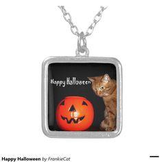 Happy Halloween Square Pendant Necklace