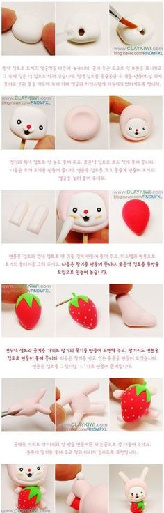 Bunny with Strawberry Fimo or Polymer Clay Tutorial