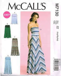 Strapless Dress Misses Skirt Maxi Long Length Sundress McCalls 7130 Sewing Pattern by PeoplePackages
