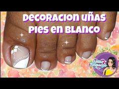 Diseño de uñas para pies en blanco/uñas paso a paso - YouTube Toe Nail Art, Toe Nails, Finger, Beautiful Toes, Sexy Toes, Wedding Nails, Youtube, Thalia, Akira