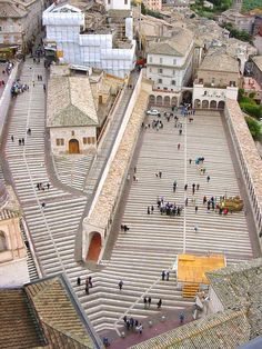 Beautiful restoration of the lower Piazza of the Basilica Di San Francesco In Assisi, Italy