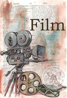 Film (Movie) Mixed Media Drawing on Distressed, Dictionary Page  - flying shoes art studio