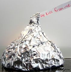 Giant Hershey Kisses made out of Rice Krispie treats and molded from funnels.  Wrap in foil to look like the real thing!