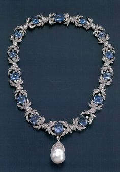 VERDURA - Sapphire and Diamond necklace with large natural baroque Pearl drop pendant.