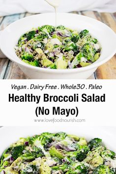 This healthy salad is packed with avocado, currants and sunflower seeds and topped off by a lush creamy cashew dressing. No mayo Paleo Recipes Easy, Gluten Free Recipes For Dinner, Whole 30 Recipes, Healthy Broccoli Salad, Healthy Salads, Clean Eating Recipes For Dinner, Salad Recipes, Lunch Recipes, Dinner Recipes