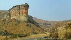 Sandstone formation (Sentinel Buttress) on the way between Clarens and the Golden Gate Highland National Park, Eastern Free State, South Africa. Photo by Martie van Niekerk