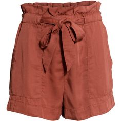 H&M Shorts with a tie belt (170.810 IDR) ❤ liked on Polyvore featuring shorts, brick red, tie belt, self tie belt, elasticated waist shorts, elastic waist shorts and elastic waistband shorts