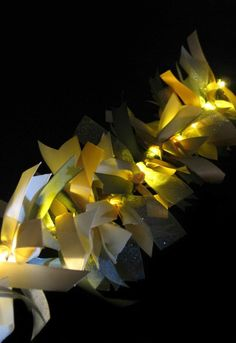 Tie ribbon to a strand of battery operated fairy lights. Ribbon Garland.
