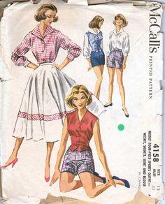 Vintage 50's Circle Skirt Shorts Blouse Weskit Vest Bust 32 Size 12 McCall's 4158. $19.75, via Etsy.