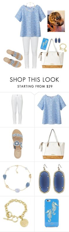 """blue & white"" by smaryb ❤ liked on Polyvore featuring Paige Denim, Uniqlo, Jack Rogers, Lilly Pulitzer, Carolee, Kendra Scott and Kate Spade"