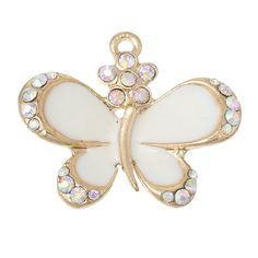 One Gold Plated AB Clear/White Rhinestone White by 2MoonswithCharm