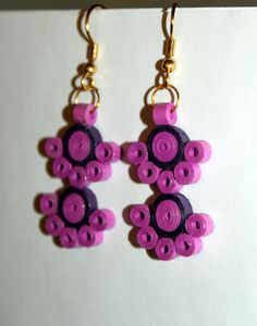 Paper Quilling  Pink Orchid & Purple Earrings by QuillingAndMore, $7.00