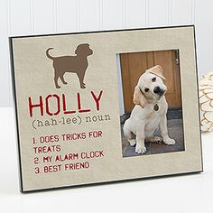 Show your love for your pet with the Definition of My Dog Personalized Photo Frame. Find the best personalized pet gifts at PersonalizationMall.com