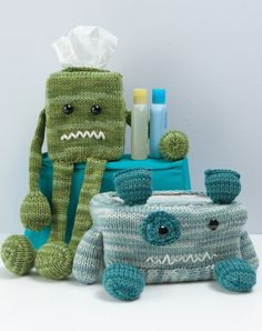 Monster wipe and tissue box covers from Knit a Monster Nursery
