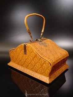 ANTIQUE leather handbag circa 1800 | eBay