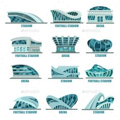 Buy Arena Building or Soccer, Football Stadiums Icons by cookamoto on GraphicRiver. Variety of soccer or football stadiums. Set of isolated sport arena buildings for championship or competition. Architecture Journal, Architecture Concept Diagram, Architecture Concept Drawings, Architecture Student, Soccer Stadium, Football Stadiums, Urban Design Concept, Future Buildings, Urban Planning