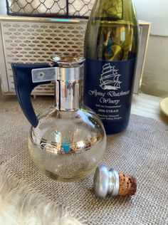 Mid Century Modern Inland Glass Mini Carafe. Handblown glass, Silvertone rimming